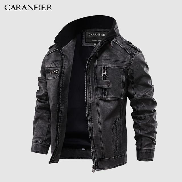 CARANFIER Mens Leather Jackets Stand Collar Zipper  1