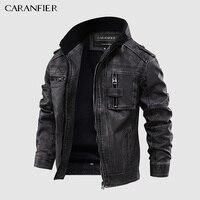 CARANFIER Herren Leder Jacken Motorrad Stehkragen Zipper Taschen Männlichen UNS Größe PU Mäntel Biker Faux Leder Mode Oberbekleidung