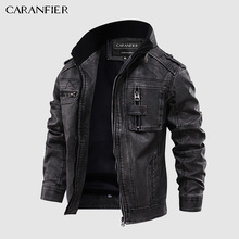 Jackets Pu-Coats Motorcycle-Stand-Collar Biker Male Mens Outerwear Us-Size Zipper CARANFIER
