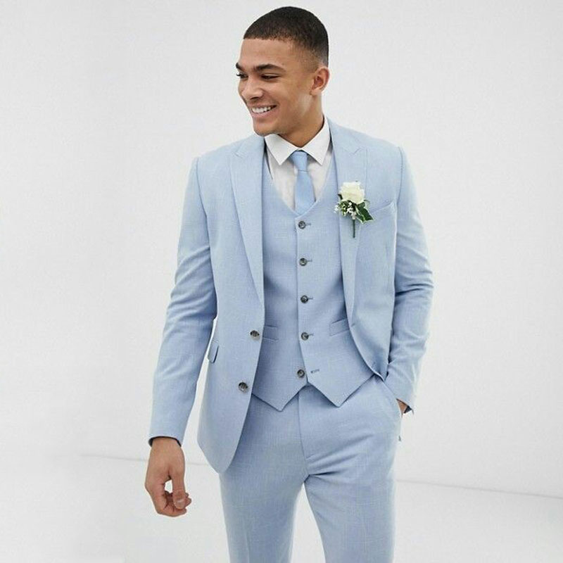 Light Blue Wedding Men Suits Slim Fit Linen Tuxedos Groom Coat  Fashion Suits For Wedding Suit  3 Pieces(Jacket+Pants+Vest)