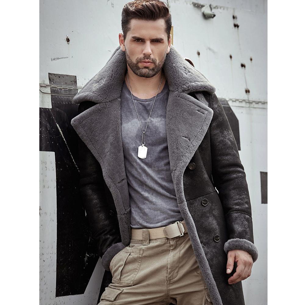 Mens Black Shearling Jacket B3 Flight Jacket Sheepskin Aviator Long Mens Winter Coats Fur Bomber Leather Jacket Trench Coat