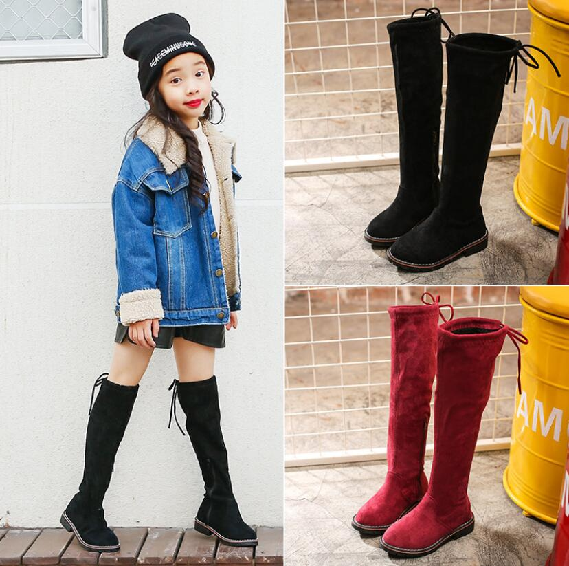 Girls Boots Children Shoes New Winter Leather Warm Fashion Girls High Boots Child Soft Tube Plus Snow Boots For Girls Size 26 37|Boots|   - AliExpress