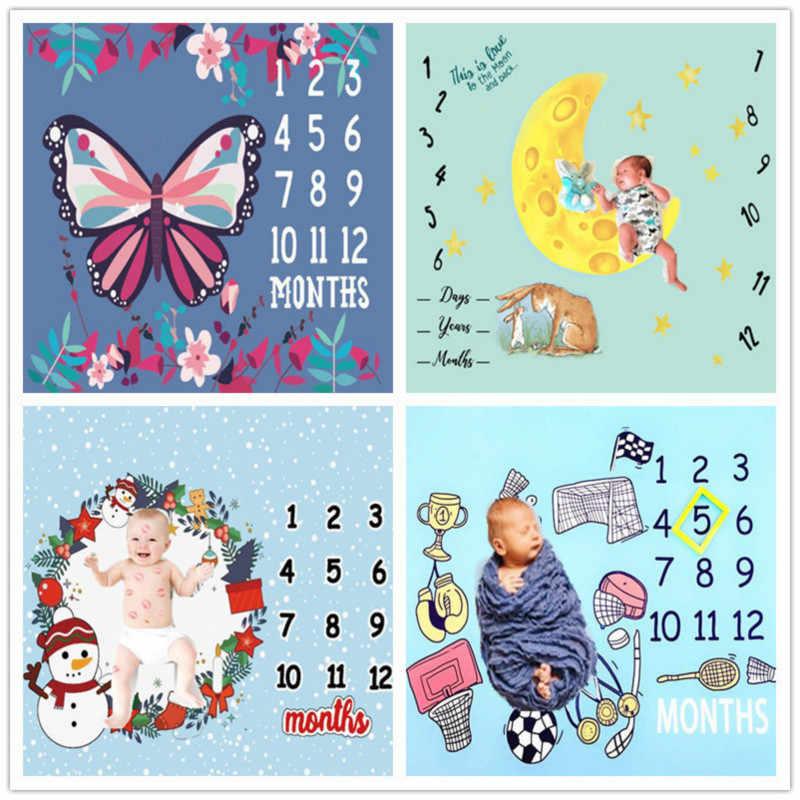 יילוד תינוק חודשי צמיחת מיילסטון שמיכות תינוק מקורי צילום רקע בד צילום תינוק אבזרי
