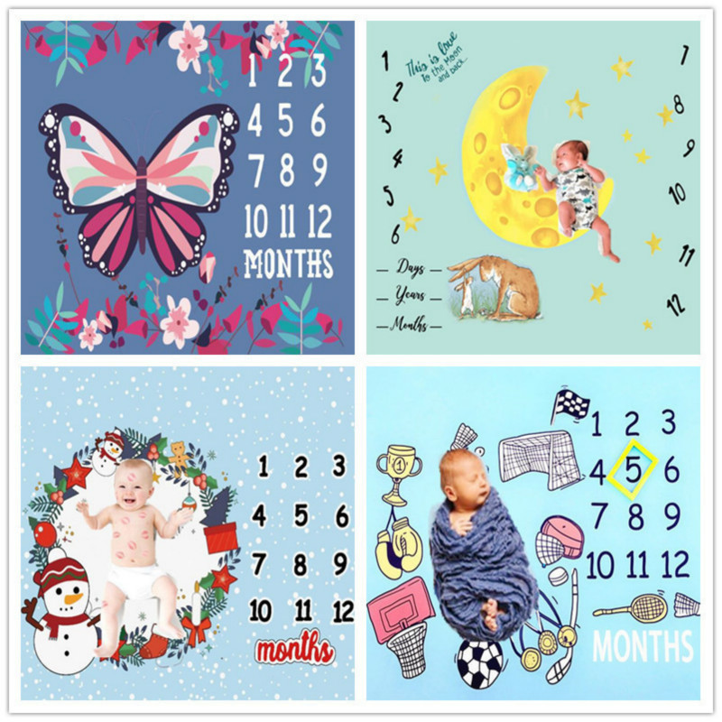 Newborn Baby Monthly Growth Milestone Blankets Baby Originality Photograph Background Cloth Infant Photography Props