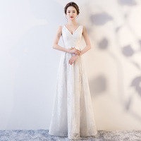 New 2019 Lace V Neck Cheongsam White Evening Dresses Qi Pao Women Traditional Chinese Dress Qipao Promotion Orientale Host Gown