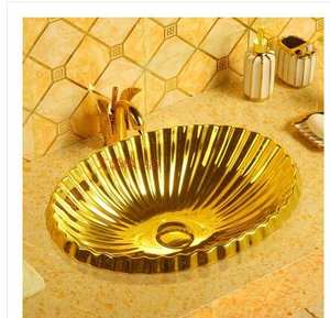 Wash-Basin Gold-Plating Oval-Embedded Under-The-Table on