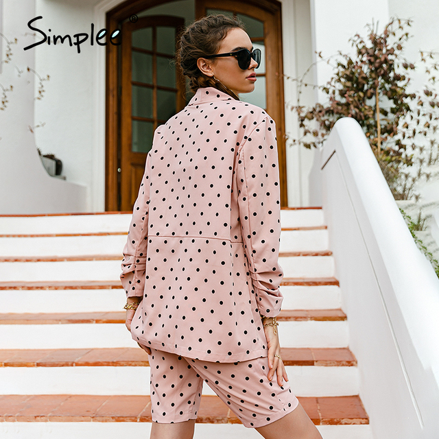 Simplee Fashion Light Pink Women's Three-piece Suit Long Sleeve Polka Dot Blazer Jumpsuit Casual Spring Summer Female Suit New 6
