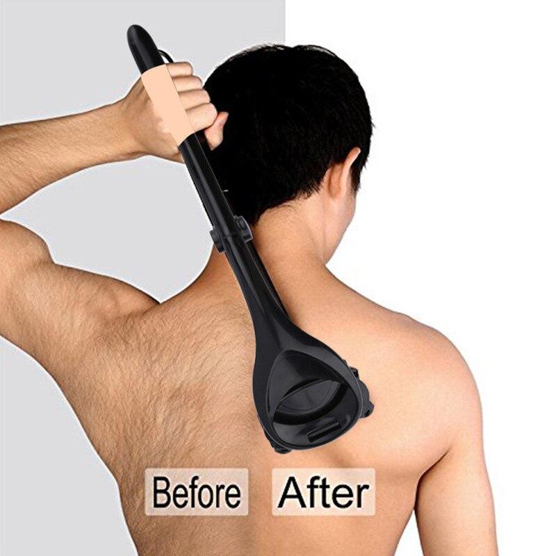 Men Back Hair Removal Body Shaver Trimmer Body Leg Razor Long Handle Razor 2 Blades Manual Hair Remover Portable Depilation Tool