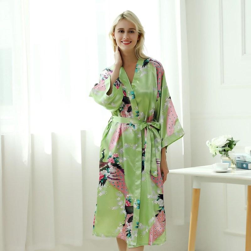Silk Nightwear Cute Nightshirts Satin Nightgowns night sexy robe pajamas Spring Nightdress Women Print Sleepshirts Sleepwear