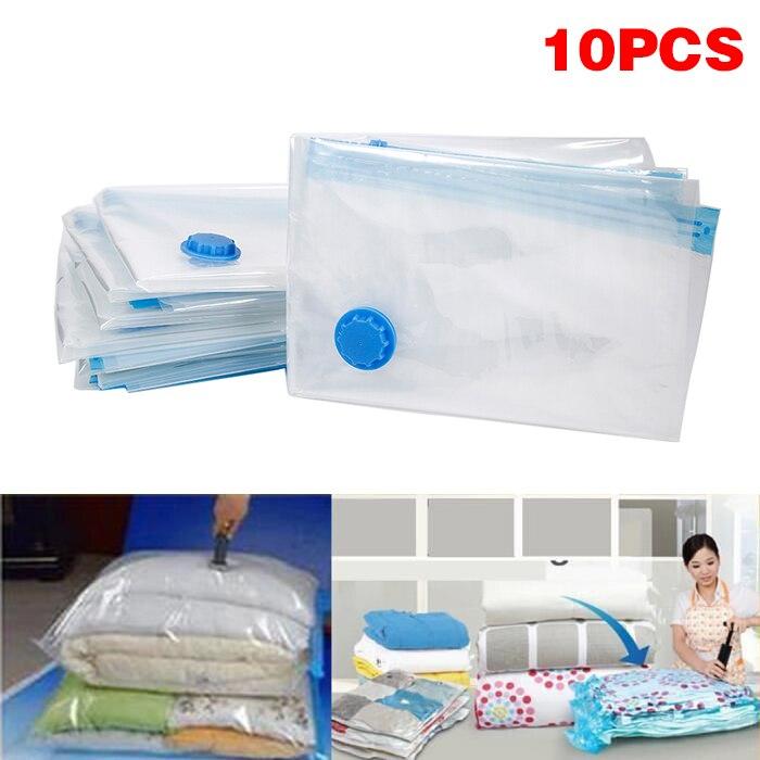 10 pçs/set dobrável extra grande comprimido organizador saco de armazenamento a vácuo transparente fronteira economia espaço roupas organizador hwc