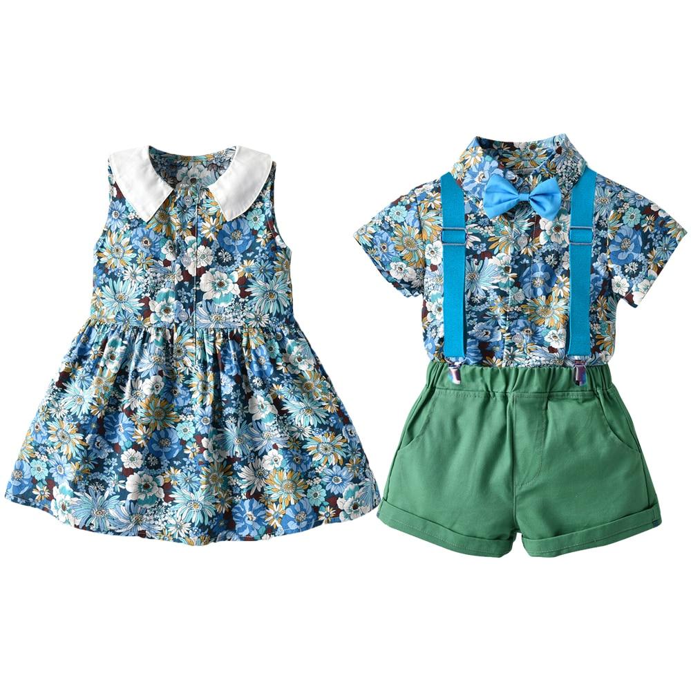Tem Doger lato w stylu hawajskim małe dziewczynki sukienka siostra brat rodzina wygląd ubrania stroje Plaid Boys Baby dziewczyny ubrania zestaw