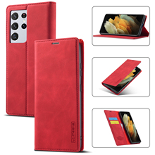 For Samsung S21 Ultra Case Luxury Folio Leather Magnetic Wallet Case TPU Back Phone Cover for Samsung Galaxy S21 Plus S21 S20 FE