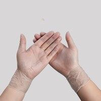 100 luvas de proteção antivirus descartáveis do pvc dos pces luvas impermeáveis duráveis ultra-finas apertadas do prato de lavagem da mão luvas