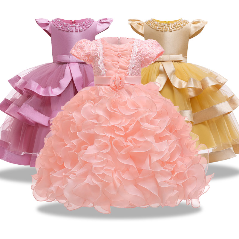 2019 Big Sash Floor Girls Pageant Birthday Party Dresses First Communion Dresses Princess Ball Gown Lace Flower Girl Dresses