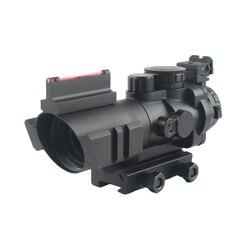 Тактический прицел 4x32 Acog, оптический прицел с ласточкиным хвостом 20 мм, прицел для охотничьей винтовки, страйкбола, снайперской лупой с крас...