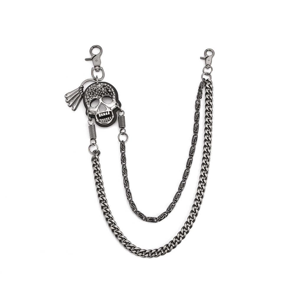 ชาย 2 เส้นRivet SkullกระดูกLinkรถจักรยานยนต์กุญแจกระเป๋าสตางค์Jean Wallet 2 ชั้นเอวPunk Hookกางเกงกางเกงเข็มขัดโซ่DR115