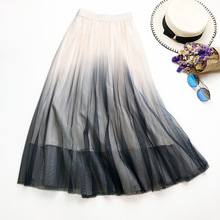2019 Summer Pink Pleated Skirt New Arrival Fade Color Mesh Skirt High Waist Pleated Midi Skirts drawstring waist pleated skirt