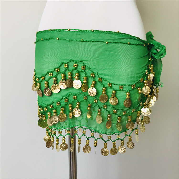 Women Tone Coins Waist Chain Wrap Adult Dance Wear Belly Dance Hip Scarf Accessories 3 Row Belt Skirt With 95 Gold Bellydance