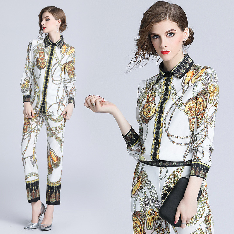 Ozhouzhan WOMEN'S Dress 2018 Autumn Clothing Europe And America Big Brand Catwalk Models Fold-down Collar Baroque Printed Loose-