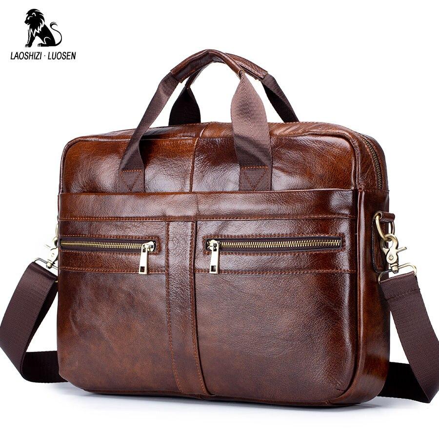 LAOSHIZI LUOSEN Bag Men's Genuine Leather Briefcase Male Man Laptop Bag Natural Leather For Men Messenger Bags Men's Briefcases