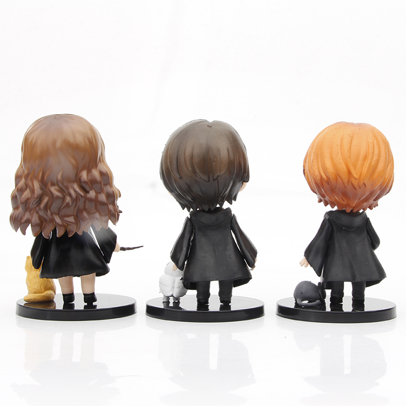 3pcs/set Q Posket Harried Model Anime Potters Action Figure Toys PVC Collectible Doll Hermione Ron Hedwig Movie Kids Cute Gifts 3