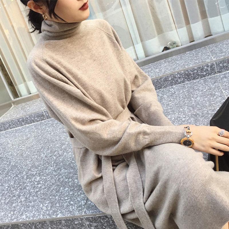 Женское трикотажное платье свитер с высоким воротником и поясом|Платья| | АлиЭкспресс
