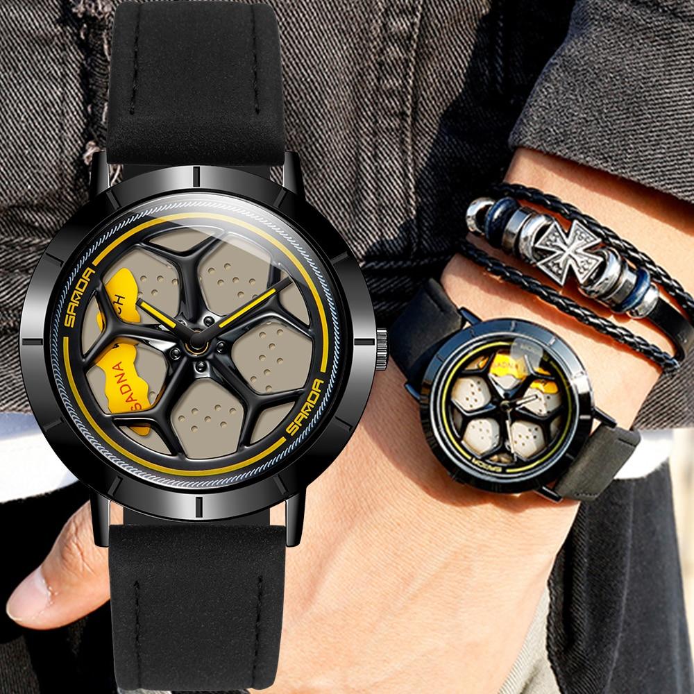 New Hot Sell Fashion Men Watches Sport Car Wheel Rim Hub Men Quartz Watch Leather Waterproof Creative 360 Degree Rotating Clock
