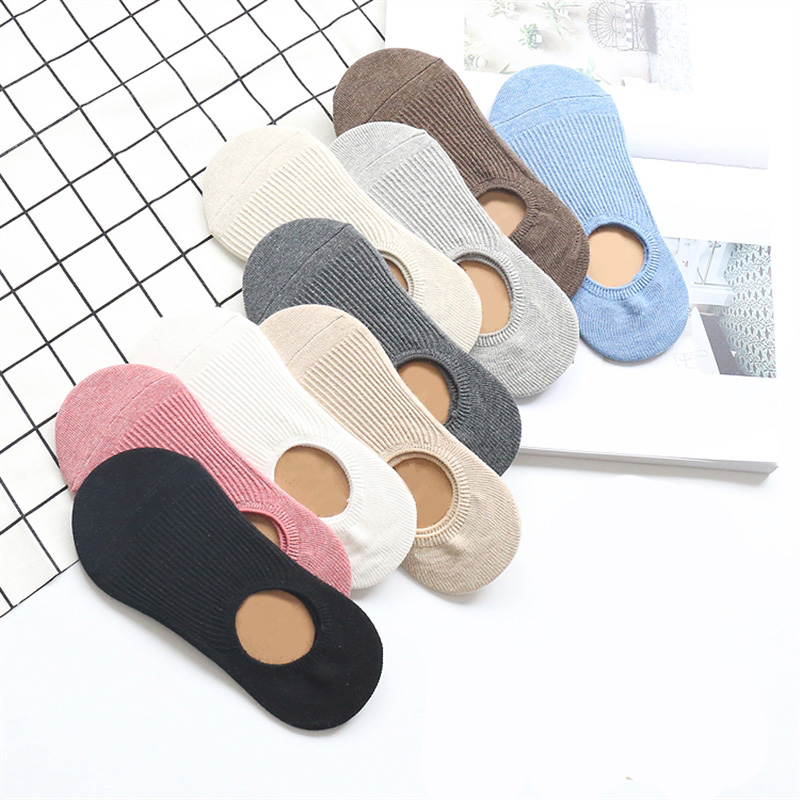 5 Pairs Solid Color Socks Women Boat Socks Invisible Girls Cotton Women Spring Summer Fashion Shallow Silicone Sock Slipper