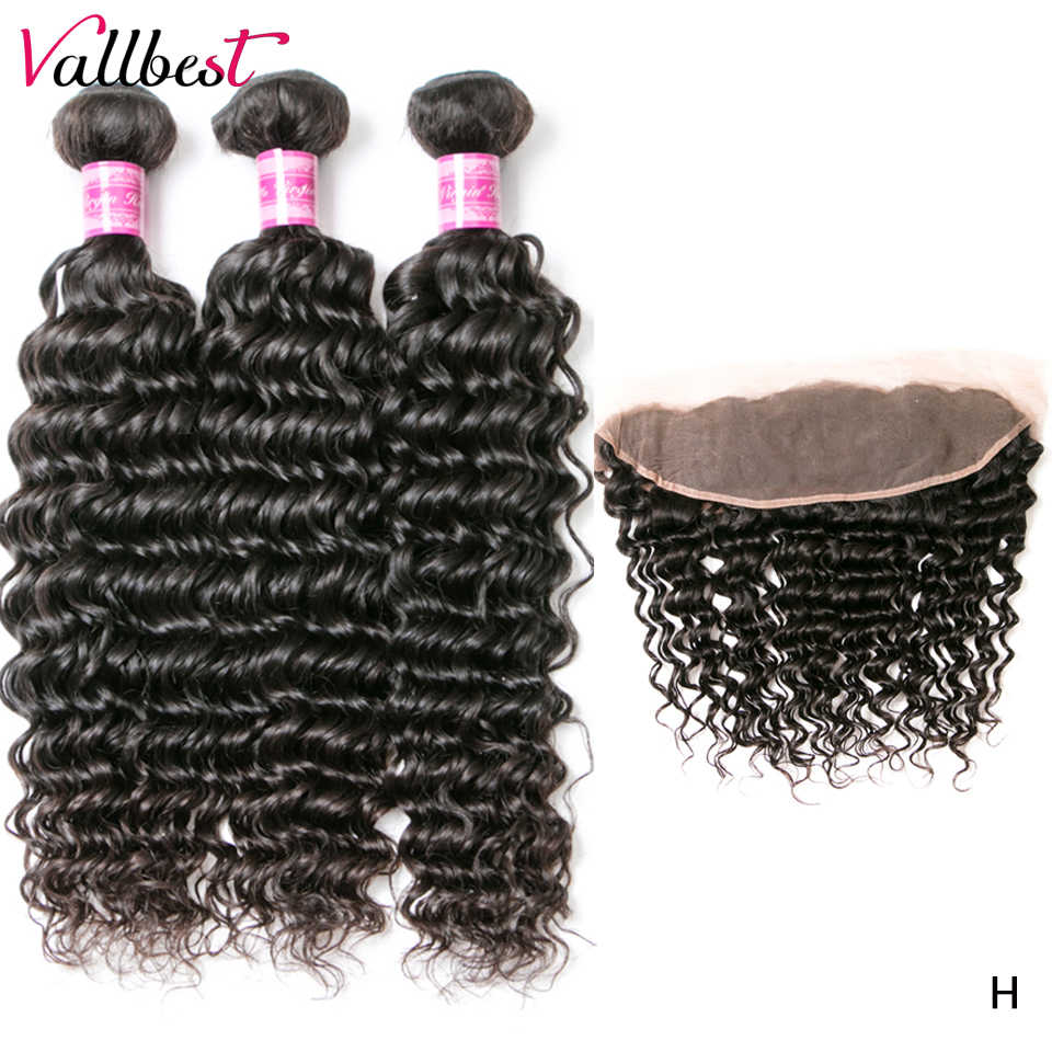 Vallbest Brazilian Deep Wave 3 Bundles With Lace Frontal 100% Human Hair Bundles With Closure Remy Hair Extensions Natural Black