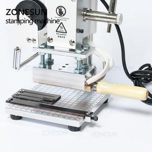 Image 4 - ZONESUN ZS100 دليل PVC بطاقة الجلود ورقة شعار الساخن ختم البرنز النقش آلة لكمة الحرارة الصحافة آلة 5x10cm