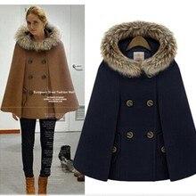 Осень и зима стиль ретро английский стиль Женская мантия шаль меховой воротник с капюшоном плащ шерстяная куртка 872
