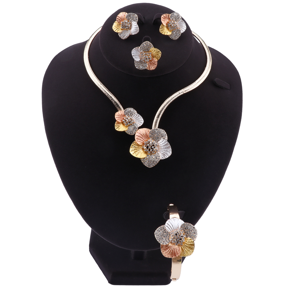 Nigerian Wedding Women Accessories Jewelry Set Fashion Dubai Gold Color Flower Shaped Jewelry Set Statement Bridal Jewelry SetBridal Jewelry Sets   -