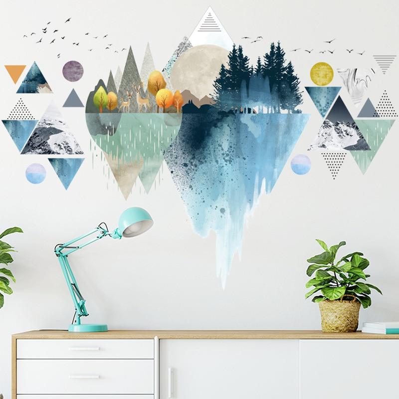 Adesivo de parede estilo nórdico, decoração de casa, triangular, sonora, mountain bike, adesivos de parede para sala de estar, quarto, vinil, criativo