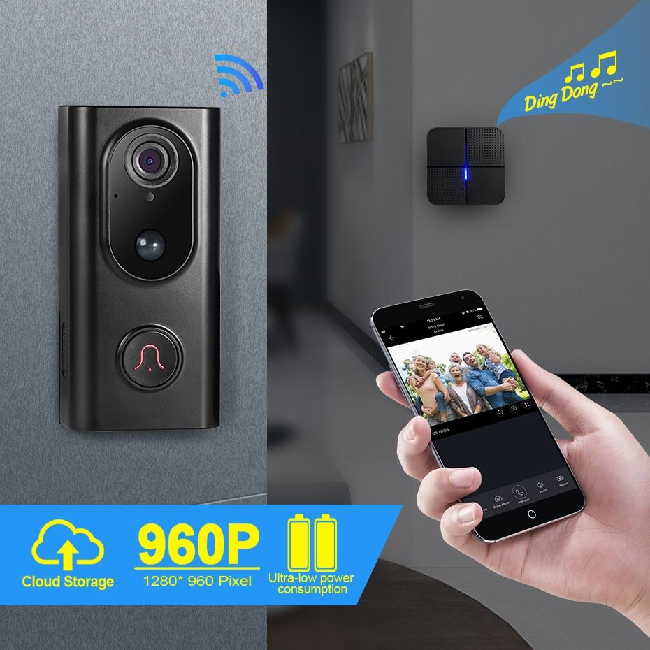 FUERS WIFI Doorbell Camera Smart Wireless Doorbell WIFI Video Camera Doorbell Two-Way Audio Night Vision Intercom Door Phone
