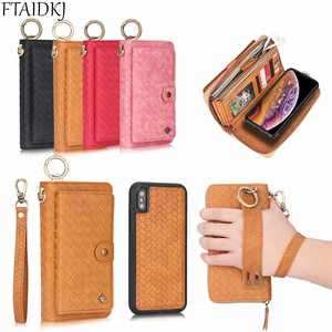Image 5 - Multifunction Leather Zipper Wallet Card Bag Case For Samsung Galaxy S10e Note 8 9 10 Pro S7 Edge S8 S9 S10 Plus Removable Handbag For iPhone 11 Pro XS Max XR X 6 6S 7 8 Plus