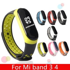 Image 1 - For Mi Band 3 4 strap sport Silicone watch wrist Bracelet miband strap accessories bracelet smart for Xiaomi mi band 3 4 strap