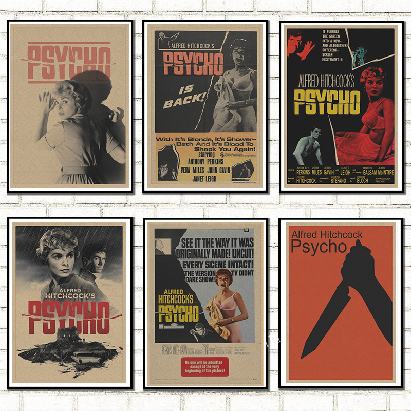 New Horror Movie Alfred Hitchcock's Psycho Horror Film Retro Poster Home Decoration Kraft Poster Painting Wall Stickers