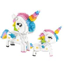 hot LegoINGlys creators Classic myth animal Rainbow Unicorn mini micro diamond building blocks model horse nano bricks toys gift(China)