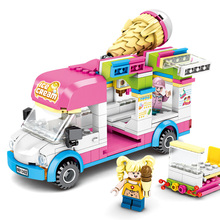 Toys For Children Ice Cream Takeaway Car Model Kit Compatible Legoing Assembled Educational Building Blocks Brick Kids Gift O01 lepin 15001 2413pcs brick bank model educational building kids blocks bricks legoing toy compatible with 10251 for gift