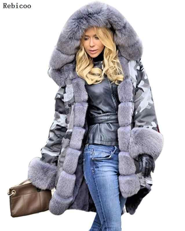 新スタイルビッグウールの襟の冬コート女性ファッション暖かい女性コートカジュアルフード付き迷彩プリントジャケットコート女性