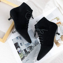 2020 herbst Winter frauen Stiefel Schuhe Solid Black Beige Lace-up Spitz Elegante Sexy Dünne High Heels frauen Stiefeletten(China)