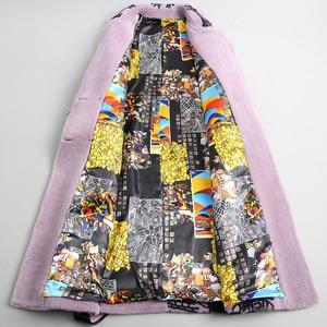 Image 3 - 우아한 겨울 긴 모직 따뜻한 진짜 모피 플러스 크기 코트 인쇄 두꺼운 턴 다운 칼라 슬림 재킷 고품질 라일락 Outwear