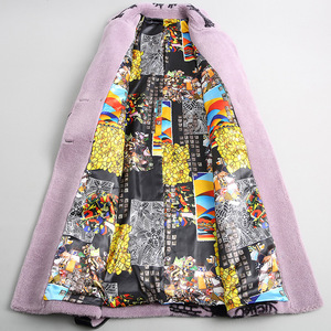 Image 3 - Elegant Winter Long Woolen Warm Real Fur Plus Size Coat Printing Thick Turn down Collar Slim Jackets High Quality Lilac Outwear
