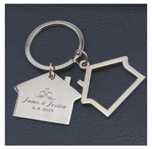 Free personalized wedding gifts house keychain,car keys custom with your wish text and date for guest