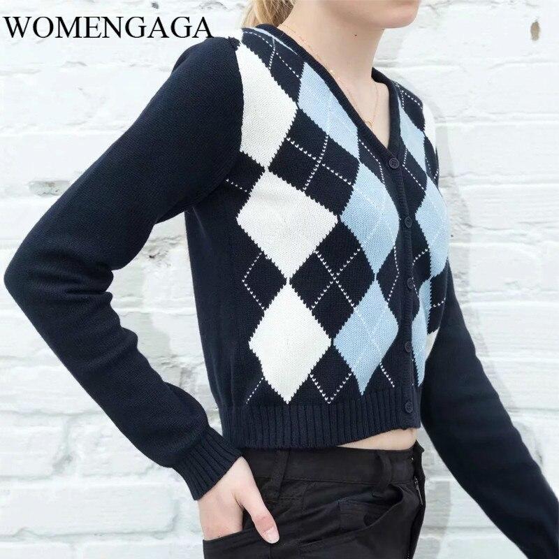 2020 Women V Neck Knit Cardigan Navy Blue Light Blue White Print Diamond Check Knit Cardigan Button Sweater CIPV