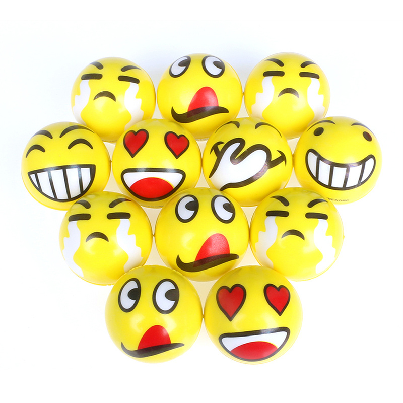 6pcs 6.3cm Antistress Squeeze Stress Balls Soft PU Smiley Face Expression Outdoor Sports Stress Relief Toys For Kids Children