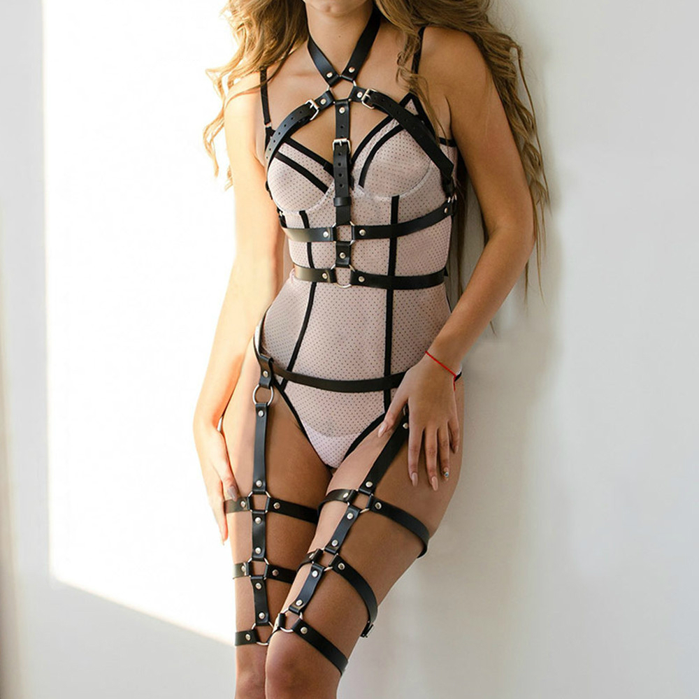 Sexy Underwear 2 Piece Leather Harness Set Garter Belts Women Straps Bra Garter Body Belts Waist To Leg Body Bondage Cage Fetish