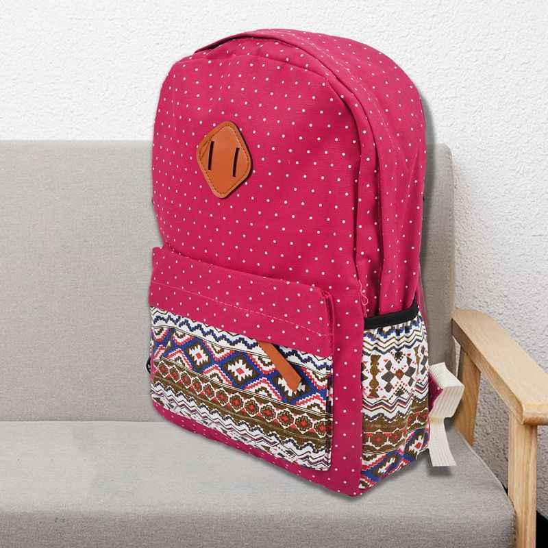 3 Buah/Set Polka Dot Cetak Wanita Ransel Lucu Ringan Kanvas Bookbags Tengah Tinggi Tas Sekolah untuk Gadis Remaja, Ungu