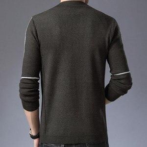 Image 3 - Бренд BROWON, мужские вязаные кардиганы на пуговицах, свитера, новый повседневный мужской пуловер, одежда с вырезом, одежда, черный, серый свитер для мужчин