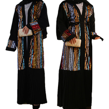 Кимоно-кардиган с пайетками, с открытой спиной, абайя, Дубай, кафтан, мусульманское длинное платье макси для женщин, Бурка, турецкое исламское платье, Vetement Femme Musulmane